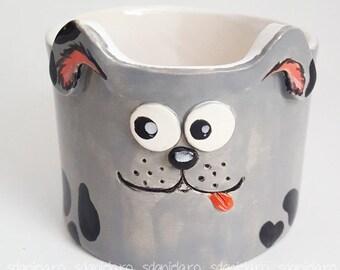 Handbuilt mug, slab-built ceramic mug, pottery mug, cute dog cup