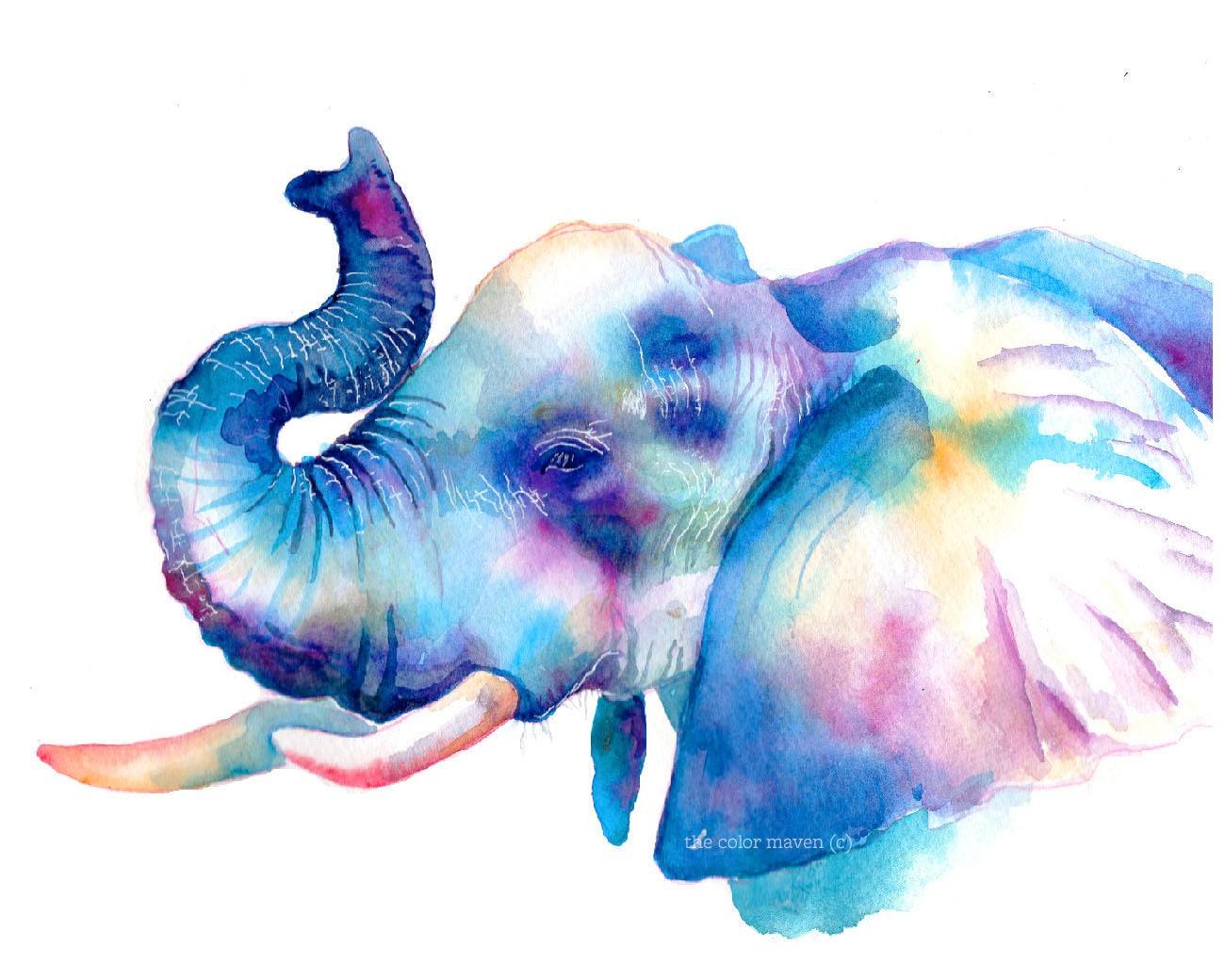 Bunten Elefanten Aquarell Druck wilde Tiere coole Kunst | Etsy