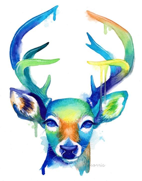 Colorful Deer No 2 Abstract Animal Watercolor Wall Art Etsy