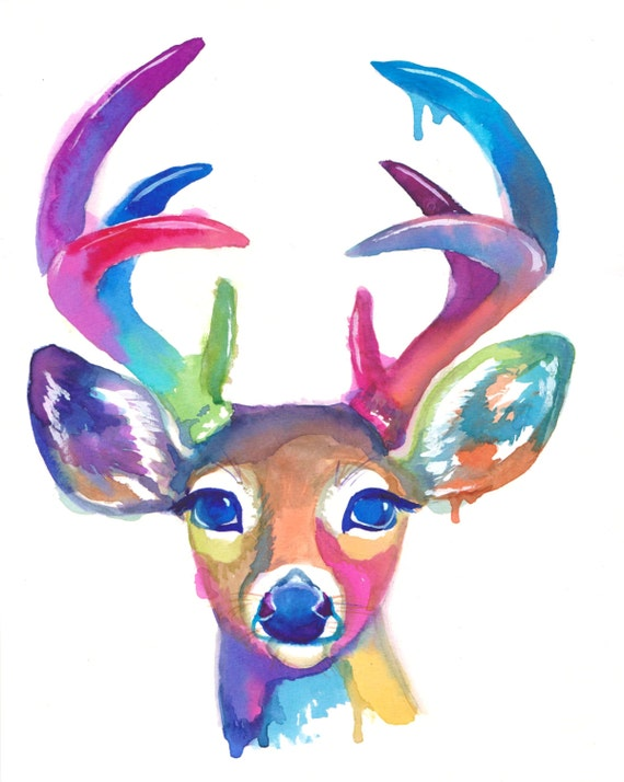 Colorful Deer Art Print Antlers Gift Abstract Painting Etsy