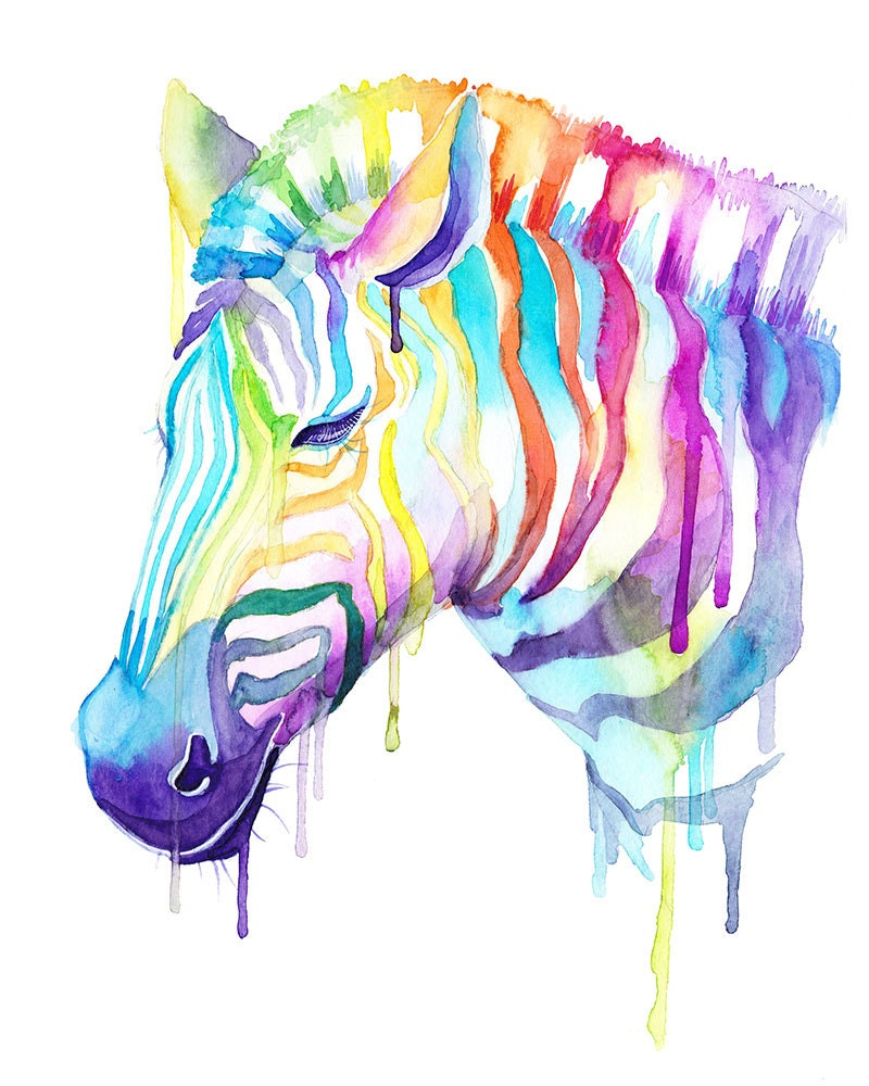 Colorful Zebra Watercolor Print Wild Animals Cool Art Etsy