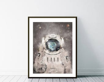 3d astronaut wall decor beetling hello worldastronaut wall artastronaut art printastronaut postersboys room decorcolorful space artcolor their world space etsy