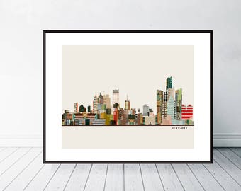 detroit skyline. detroit michigan skyline. detroit city poster. colorful home or nursery skyline posters.colorful pop city skyline decor.