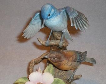 1983 Andrea By Sadek Porcelain Mountain Bluebirds Figurine #6890