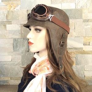 RARE 1930s 40s WW2 Unisex Men Women Brown Beige Leather Hide Velvet Military Helmet Speaker Holder Winter Fall Aviator Pilot Motorcycle Hat