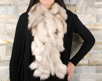 d825f4957280 Foulard en fourrure de renard beige recyclée, écharpe de fourrure, style  boa, châle fourrrure, F2