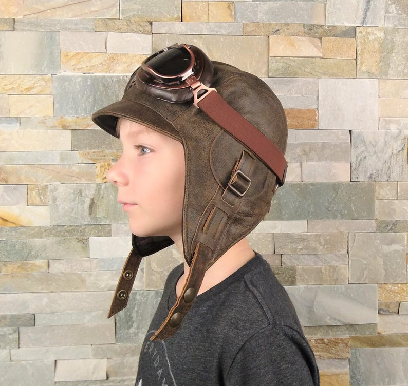 c373f2d7d32 Kids Aviator Hat Pilot Costume Steampunk Hat and Goggles for