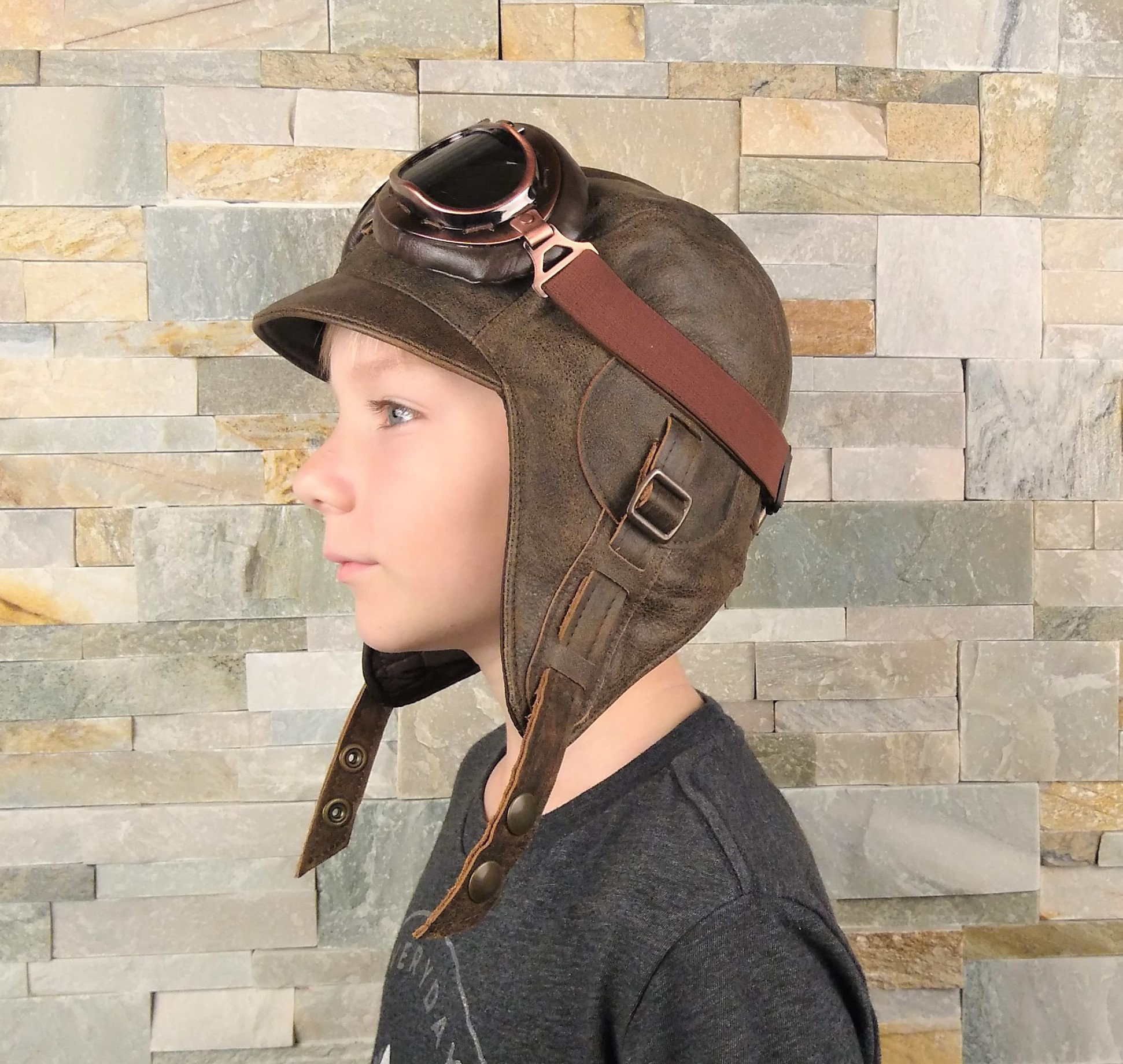 Kids Aviator Hat Pilot Costume Steampunk Hat And Goggles