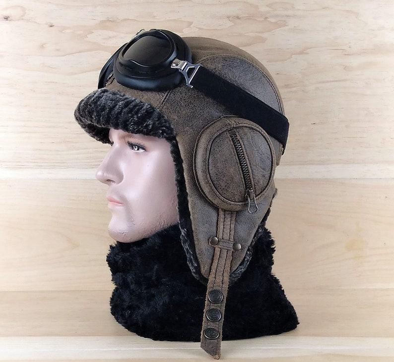 29cfdba1a84 Sheepskin Hat Shearling Leather Aviator Trapper Hat Ushanka