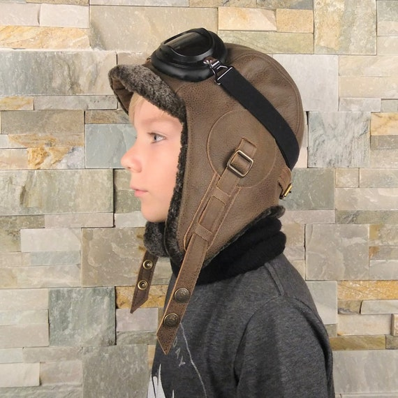 Girl and boy sheepskin hat leather aviator hat kids winter  a5fe31073396