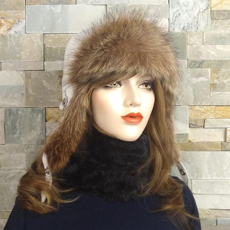 19297bf733a Women s Ushanka Fur Aviator Hat White leather