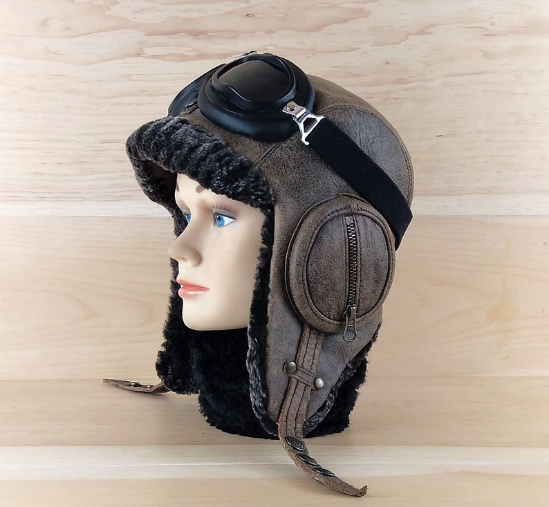 a9ca687ffd789 Sheepskin Hat Shearling Leather Aviator Trapper Hat Ushanka