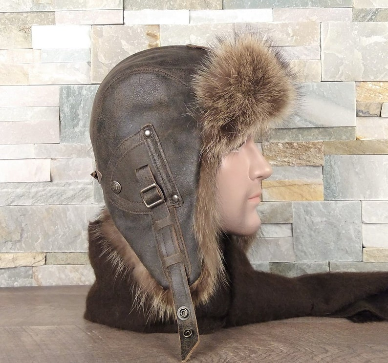 Fur aviator hat for men ushanka trapper bomber cap real  64464f32d885