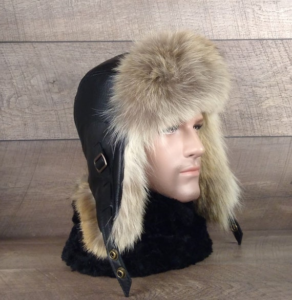 Men S Coyote Fur Aviator Hat Ushanka Trapper Cap Real Etsy
