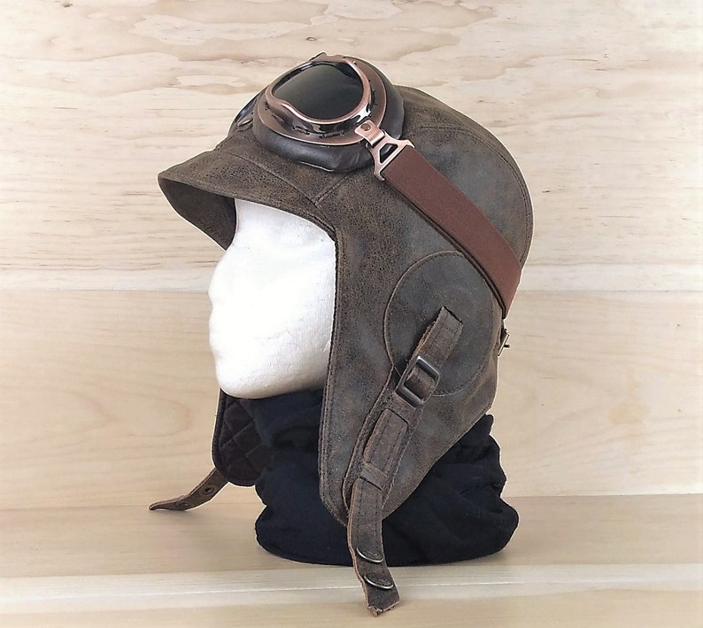 5be28b47675 Aviator Hat and goggles Leather Motorcycle Helmet Pilot Cap