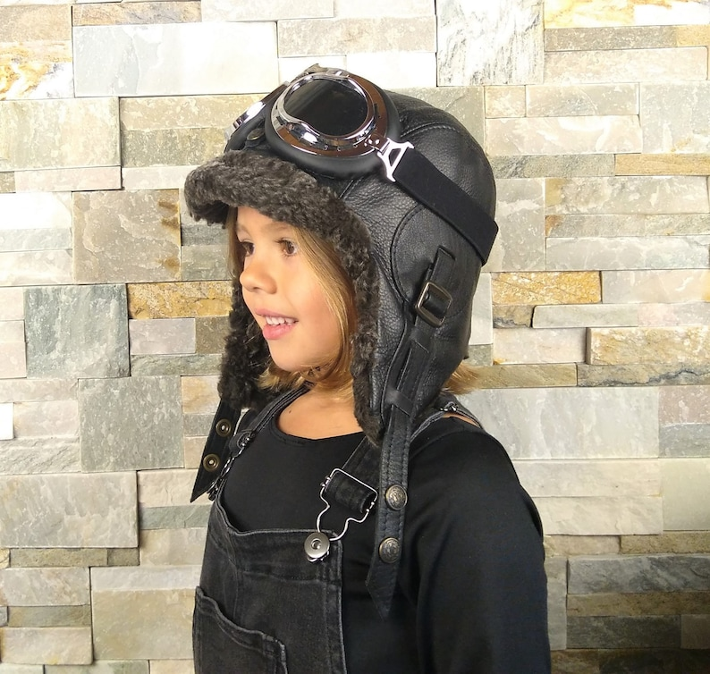 Girl and boy sheepskin hat leather aviator hat winter  8d7ead65d167