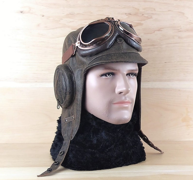 Aviator Pilot Hat, Flying Helmet, WW2 Military Pilot Cap, Aviation Goggles,  Real Leather Old Brown Color, For Men and Women CA08