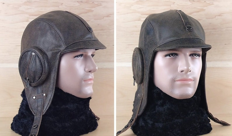 Aviator Pilot Hat Flying Helmet Real Leather Old Brown  eada7b8e2b88
