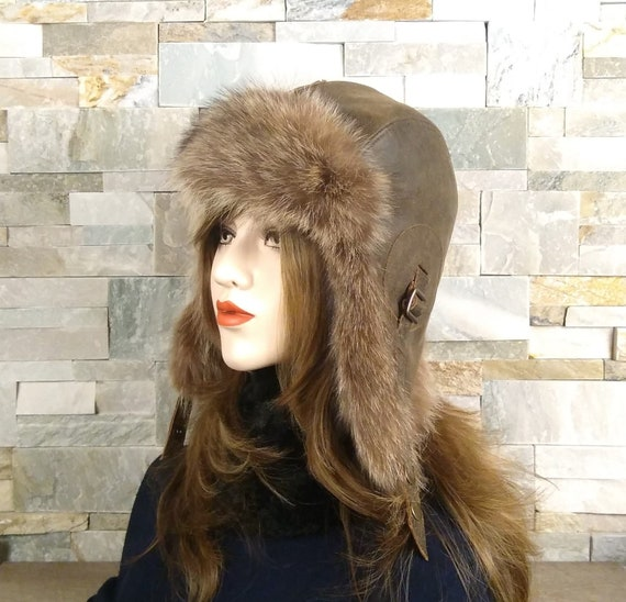 2f16aceb35f42 Ushanka women s fur aviator hat trapper bomber cap real