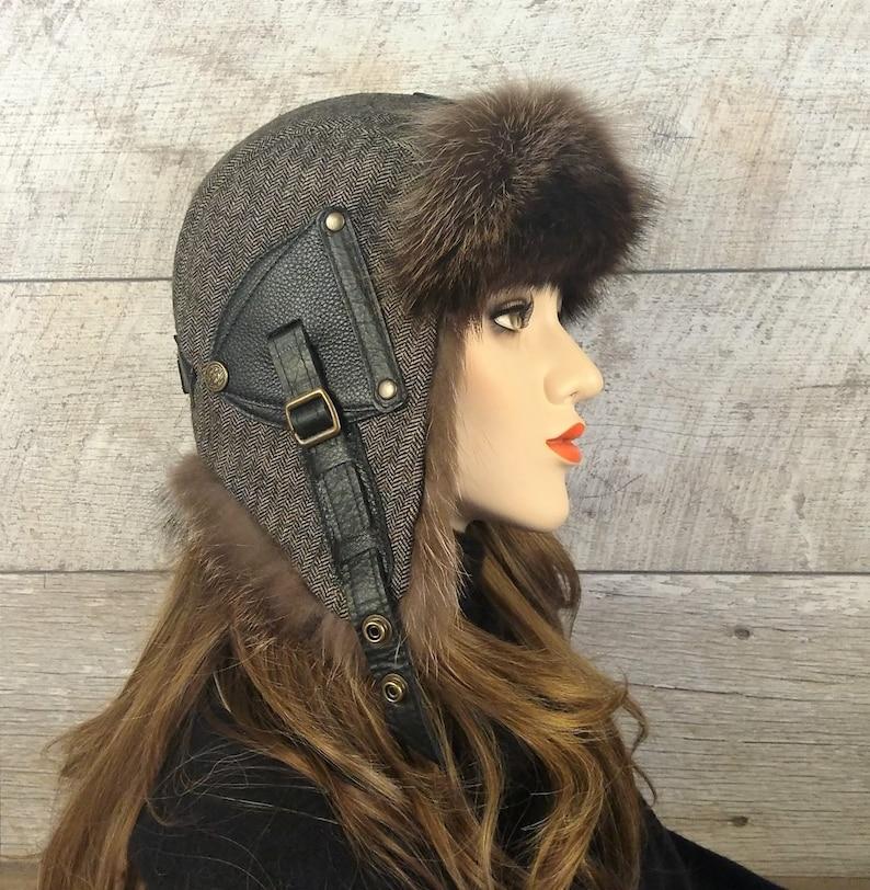 907feb374 Women's Ushanka Hat, fur Aviator Cap, Tweed, Recycled Raccoon Fur, Antoine  Model CA48