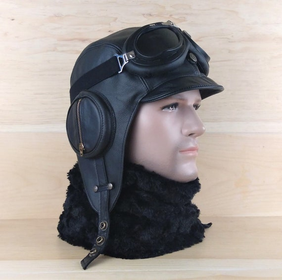 Leather Aviator Hat and goggles Pilot Cap WW2 Military Style  283e1846cbe