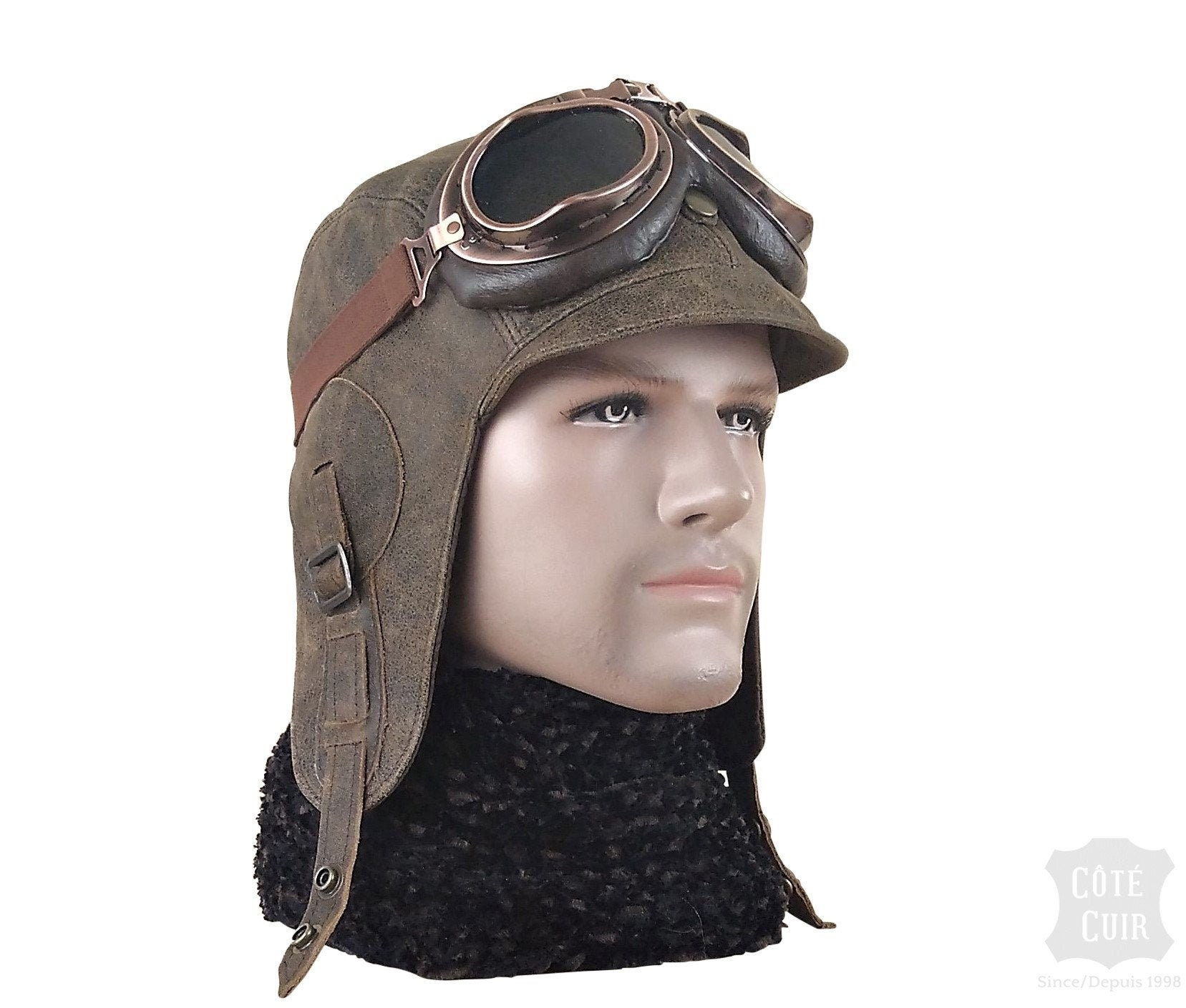 BIGGLES leather flying helmet Inc Lunettes WW2 Cuir Style Aviateur Bonnet aviateur.