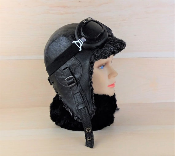 Leather Aviator Hat Woolen Trapper Bomber Style Cap for  23402881d38