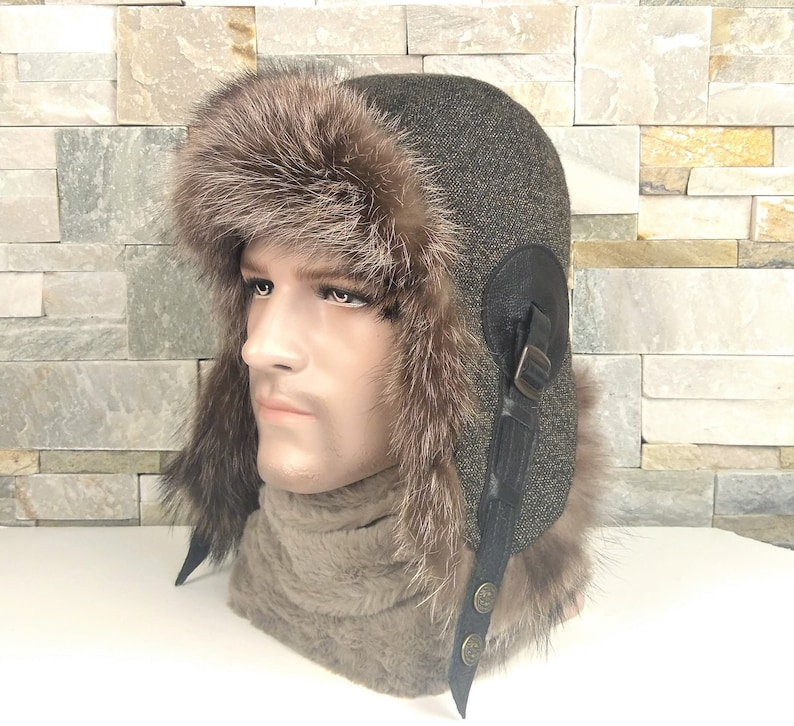 5ae852643 Men's fur trapper hat, ushanka, winter aviator cap, tweed English style and  black leather, recycled raccoon fur CA45
