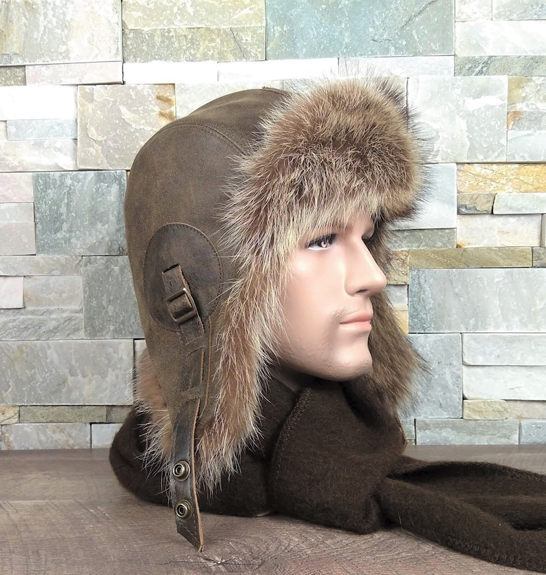 a2903b0279c9b Ushanka men s fur aviator hat trapper bomber cap real
