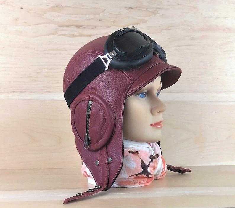 Cappello da aviatore in pelle casco moto pilota Cap  e95a9db2c193