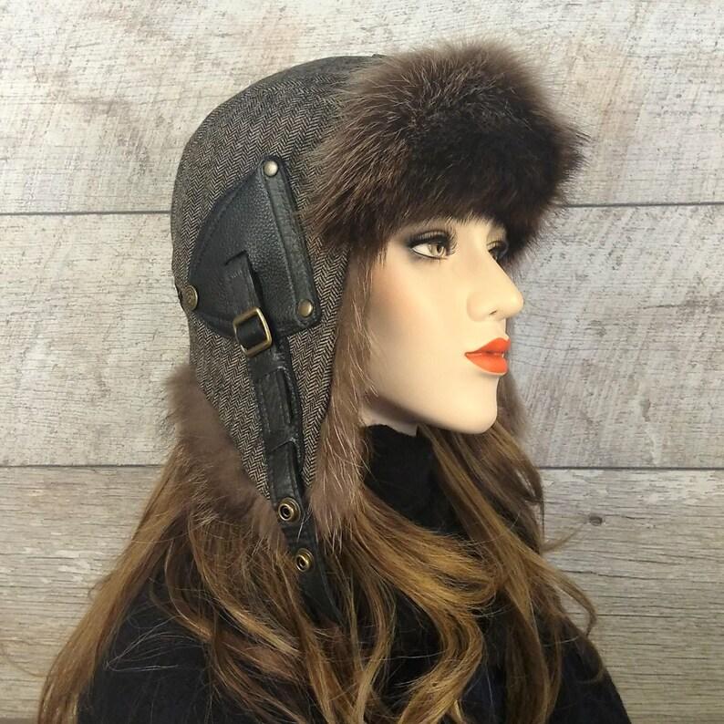 Women/'s Ushanka Hat fur Aviator Cap Tweed Recycled Raccoon Fur Antoine Model CA48