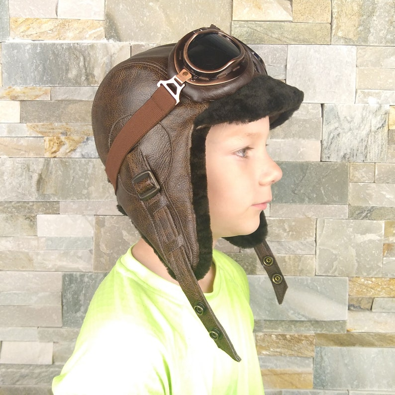 0eab918f6c6f9 Boy and girl s sheepskin aviator hat Kids  winter