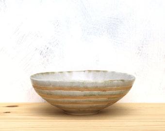 Handmade Ceramic Shallow Bowl in Off White. Ceramic Pottery Bowl.