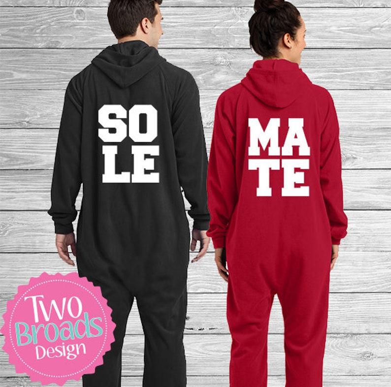 67a13dfa21 Adult footie pajamas SET OF 2 Onesie Pajamas Soulmates