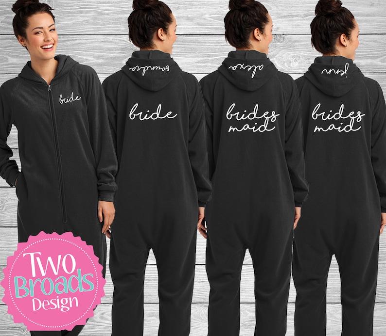 5d2e2b8ce8 Fleece Lounger Pajamas Bridesmaid Footie pajamas Bride