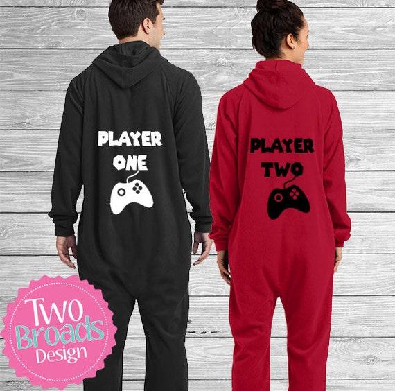Adult footie pajamas, SET OF 2 Onesie Pajamas, Player one and Player two Gamer Pajamas, Xbox Pajamas, Custom pajamas,