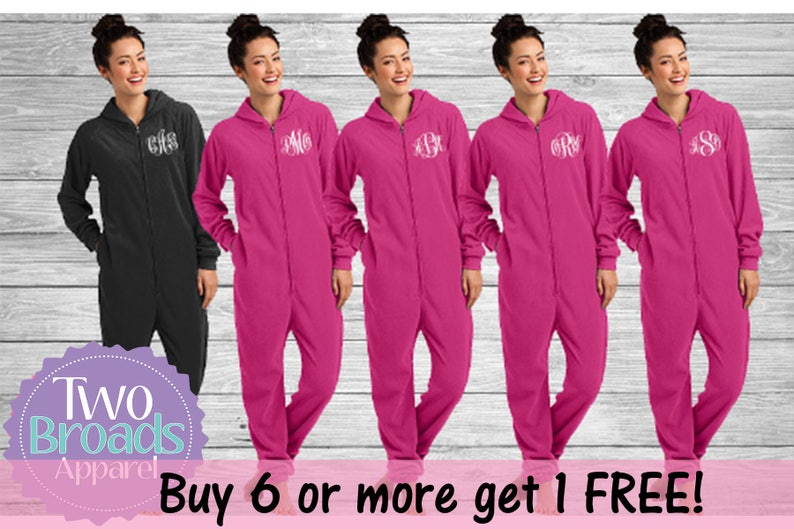 7f58454af953 Bridesmaid Footie pajamasSet of 2 Monogrammed Pajamas