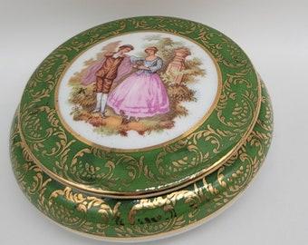 Vintage Signed W Germany Porcelain Courting Couple Adjustable Cocktail Ring