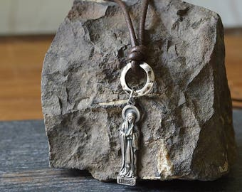 Catholic Men's Necklace, Religious Men's Jewelry, Virgin Mary Necklace, Catholic Baptism Men's gift, Religious Necklace for Men, Godfather