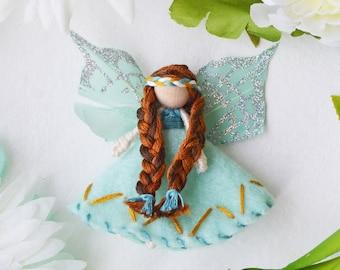 Girl Felt Fairy Doll, Miniature Waldorf Fairy Decor for Girls Bedroom