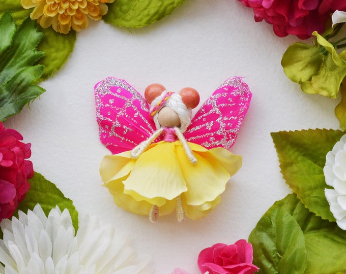 Flower Fairy Doll in Yellow and Pink, a Miniature Waldorf Fairy Doll Gift