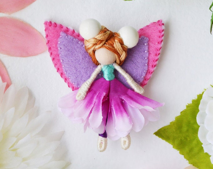 Miniature Fairy Doll in Pink and Purple, a Miniature Flower Waldorf Fairy Doll Gift