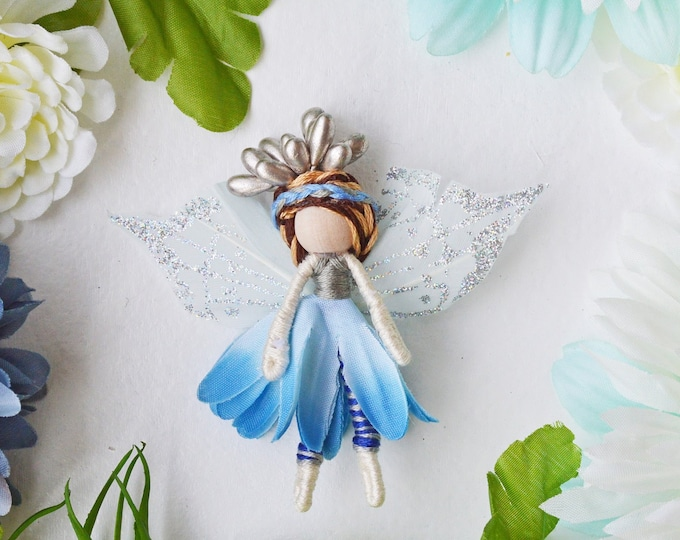 Flower Fairy Doll in Blue, a Perfect Miniature Small Waldorf Fairy Doll Gift