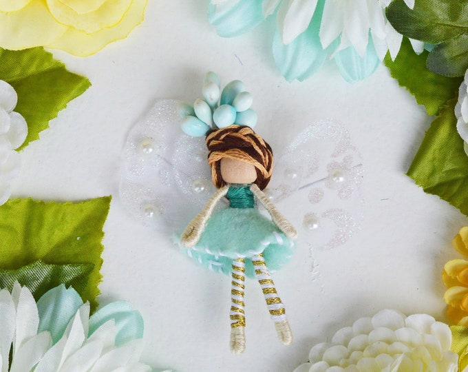 Miniature Fairy Doll in Gold and Teal,  a Perfect Miniature Waldorf Fairy Doll Gift