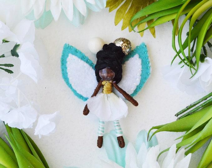 Miniature Fairy Doll, Waldorf Fairies, Black Fairy Doll, Felt Fairy Doll