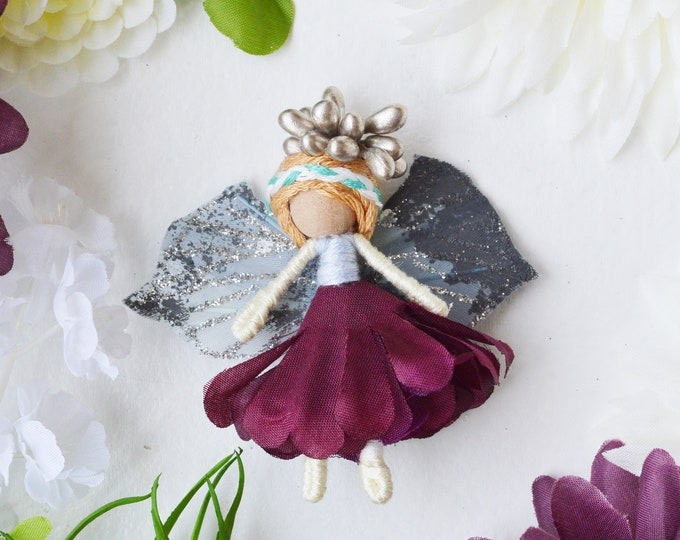 Miniature Fairy Doll in Purple and Pink Faux Flowers, the Perfect Small Waldorf Fairy  Doll Gift