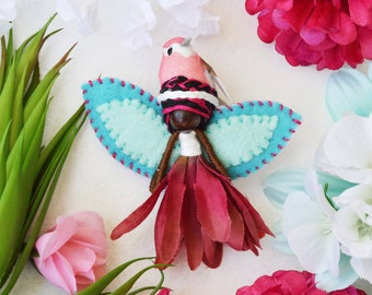 Miniature Fairy Doll, Flower Fairies, Black Fairy Doll, Waldorf Fairies