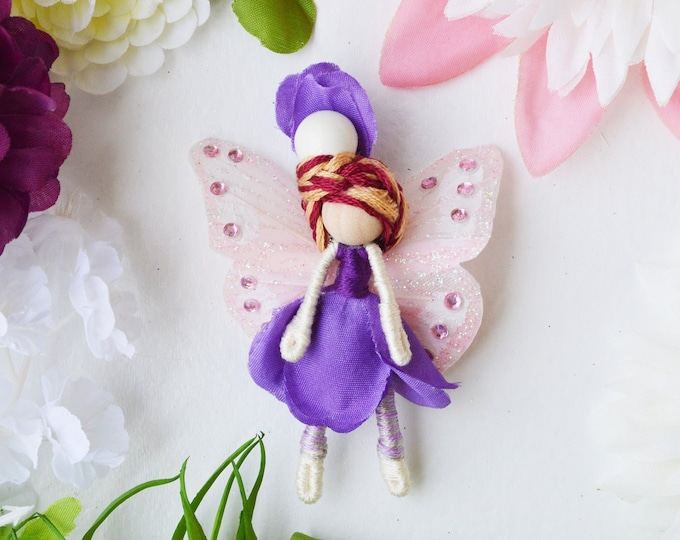 Flower Fairy Doll in Purple, a Perfect Miniature Waldorf Fairy Doll Gift