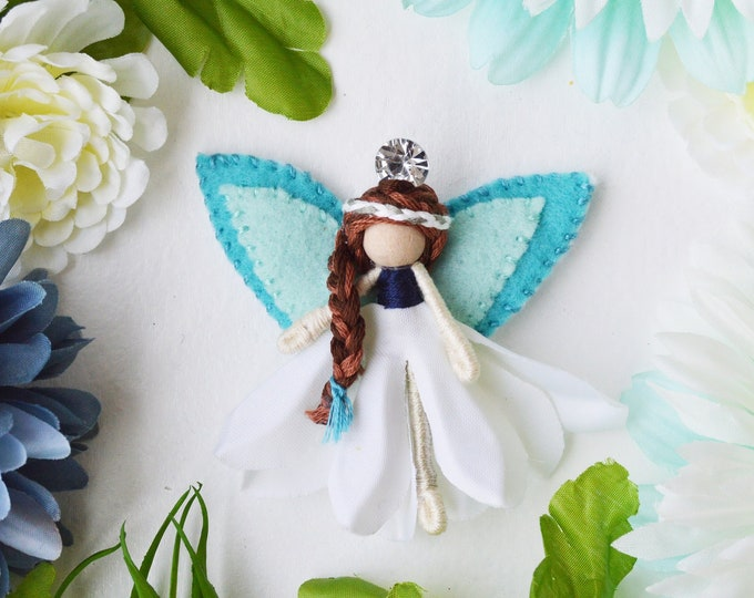 Flower Fairy Doll  in White and Blue, a Perfect Miniature Waldorf Fairy Doll