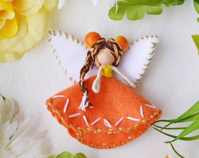 Felt Fairy Doll in Orange and White, a Miniature Waldorf Fairy Doll Gift